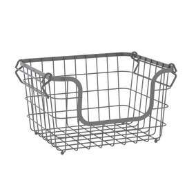 Grey Stackable Wire Basket