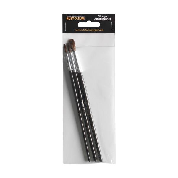Rust-Oleum Pack of 3 Large Artist Brushes Black