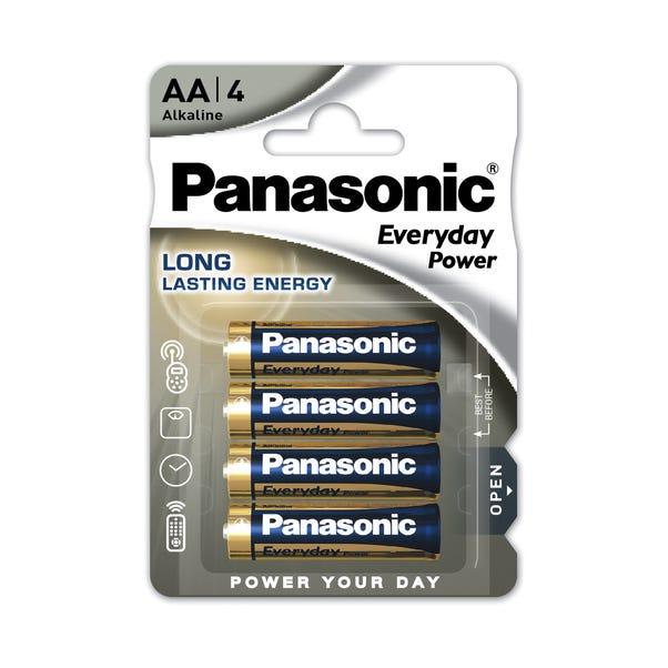 Panasonic Everyday Power Pack of 4 AA Batteries Black