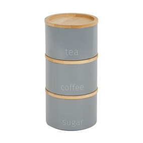Grey Set of 3 Metal Stacking Canisters