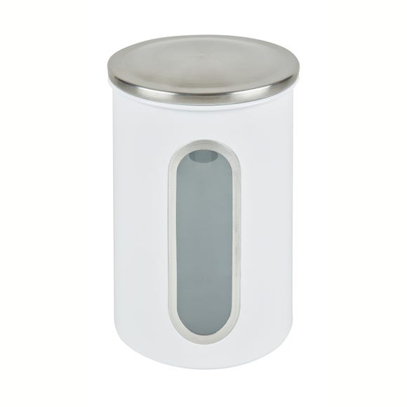 White Metal Window Canister White
