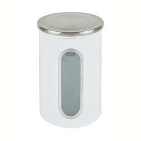 White Metal Window Canister