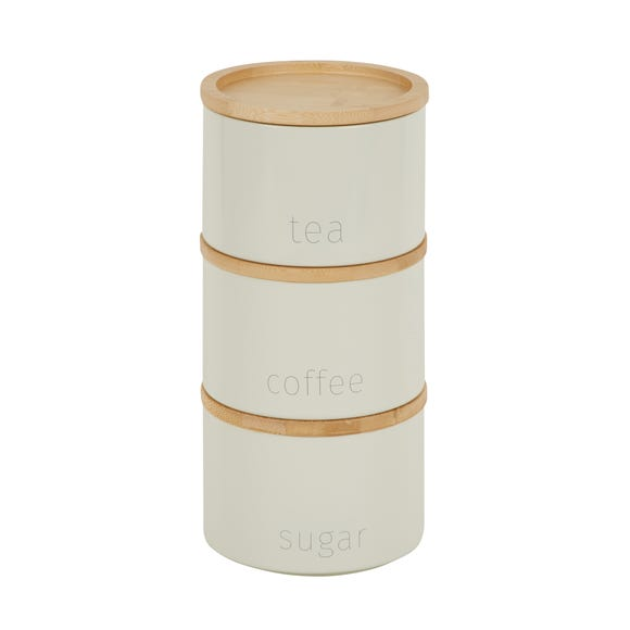 Cream Set of 3 Metal Stacking Canisters with Bamboo Lids Cream