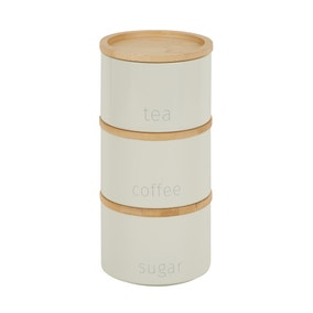 Cream Set of 3 Metal Stacking Canisters with Bamboo Lids