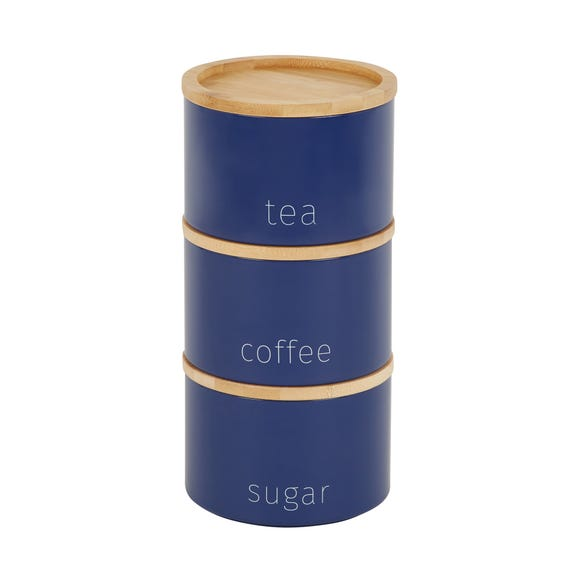 Navy Stacking Metal Canisters with Bamboo Lids Navy