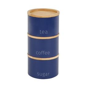 Navy Stacking Metal Canisters with Bamboo Lids