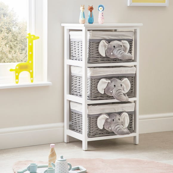 Grey Plush Elephant 3 Drawer Wicker Drawer Unit Grey
