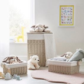 Cream Plush Dog Wicker Basket