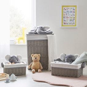 Grey Plush Elephant Wicker Basket