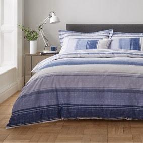 Ellis Blue Stripe Duvet Cover and Pillowcase Set
