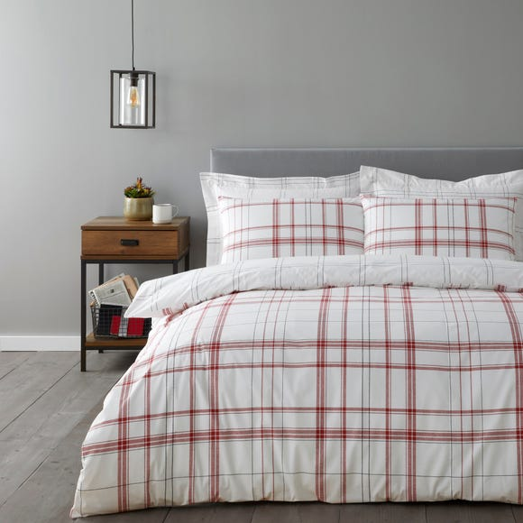 Kelvin Red Check Duvet Cover and Pillowcase Set  undefined