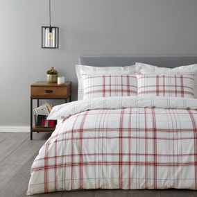 Kelvin Red Check Duvet Cover and Pillowcase Set