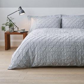 Leo Pintuck 100% Cotton Grey Duvet Cover and Pillowcase Set