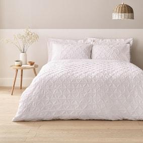 Leo Pintuck 100% Cotton White Duvet Cover and Pillowcase Set