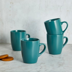 Stoneware Teal Set of 4 Mugs