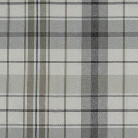 Nevis Check Grey Cotton Fabric