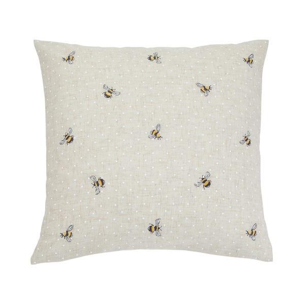 Embroidered Bees Natural Cushion Natural