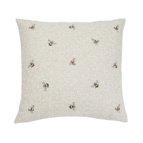 Embroidered Bees Natural Cushion