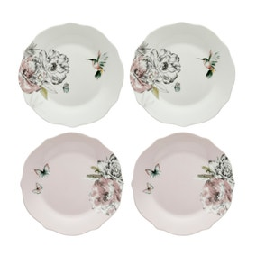Heavenly Hummingbird Set of 4 Blush Side Plates
