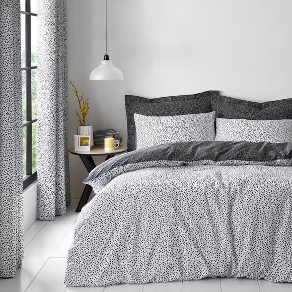 Dottie Black Duvet Cover and Pillowcase Set  undefined
