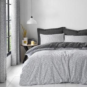 Dottie Black Duvet Cover and Pillowcase Set
