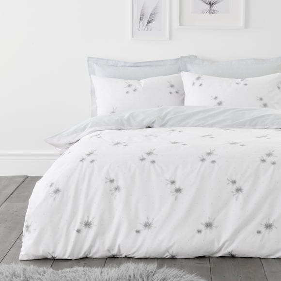 Emily White and Grey Embroidered Duvet Cover and Pillowcase Set  undefined
