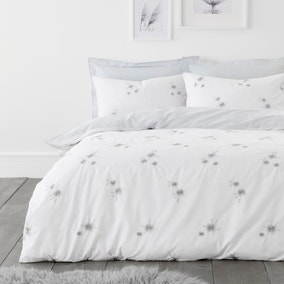 Emily White and Grey Embroidered Duvet Cover and Pillowcase Set