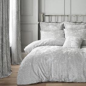 Tanith Silver Velvet Duvet Cover and Pillowcase Set