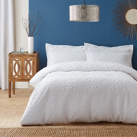 Mandalay White Duvet Cover and Pillowcase Set