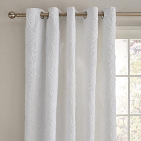 Mandalay White Blackout Eyelet Curtains