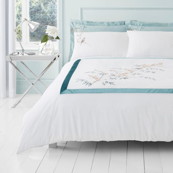 Evelyn Blue Embroidered Duvet Cover and Pillowcase Set  undefined