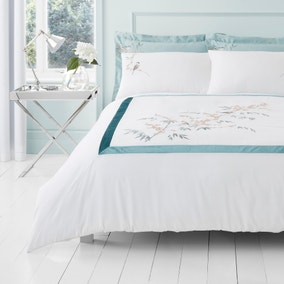 Evelyn Blue Embroidered Duvet Cover and Pillowcase Set