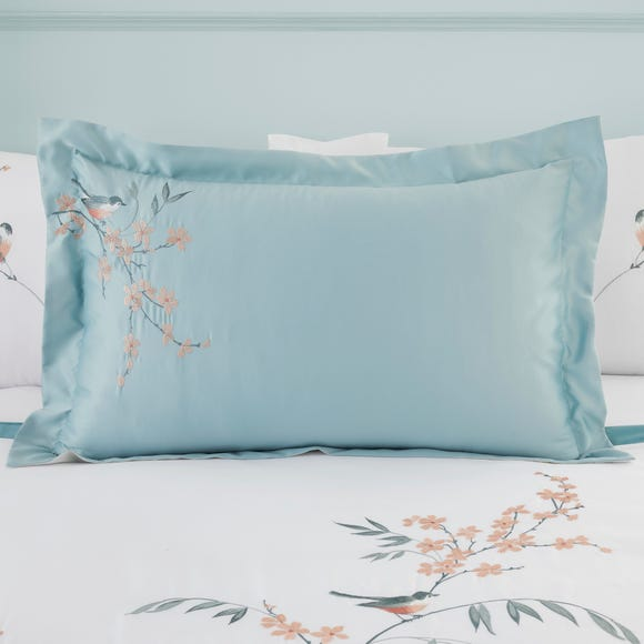 Evelyn Blue Embroidered Oxford Pillowcase Duck Egg (Blue)