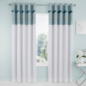 Evelyn Blue Blackout Eyelet Curtains
