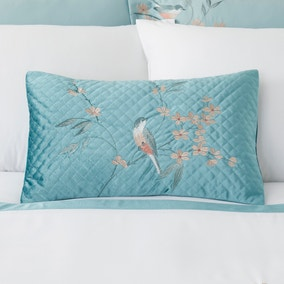Evelyn Blue Embroidered Boudoir Cushion