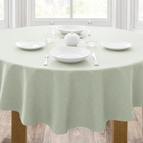 Semi Plain Sage PVC Tablecloth