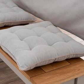 Dove Grey 9 Stitch Seat Pad with Pom Poms