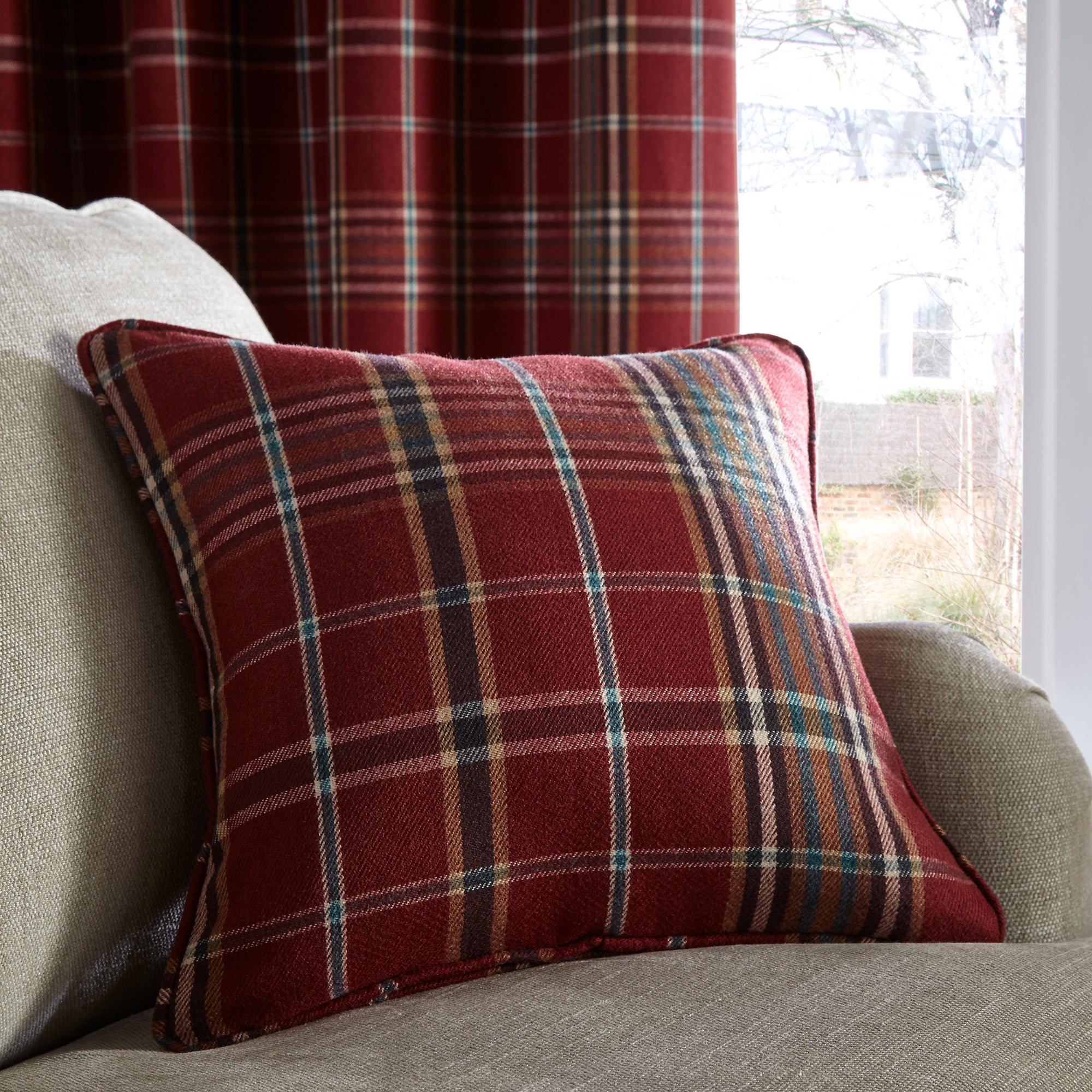 Photo of Melrose red cushion red- blue and yellow
