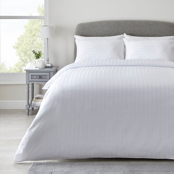Hotel Hampton White Cotton Sateen Striped Duvet Cover and Pillowcase Set  undefined