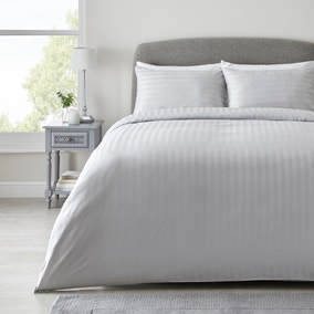 Hotel Hampton Silver Cotton Sateen Striped Duvet Cover and Pillowcase Set