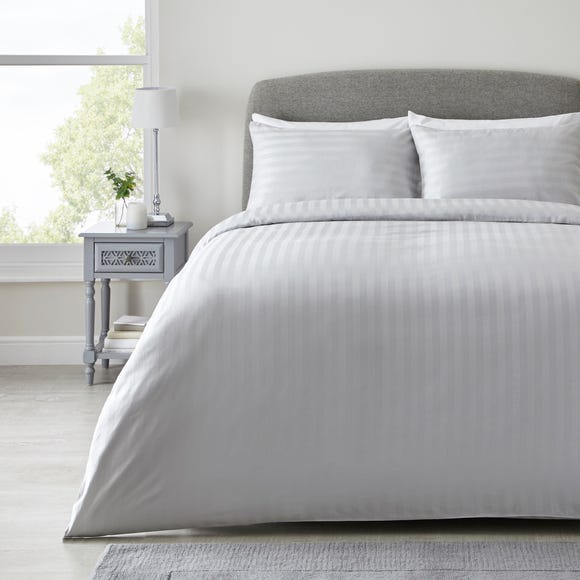 Hotel Hampton Silver Cotton Sateen Striped Duvet Cover and Pillowcase Set  undefined