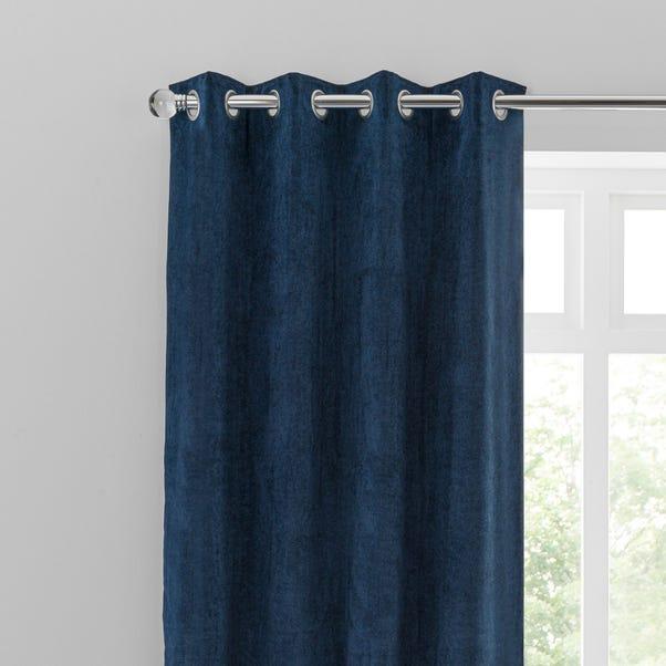 Margot Velvet-Look Midnight Blue Eyelet Curtains  undefined