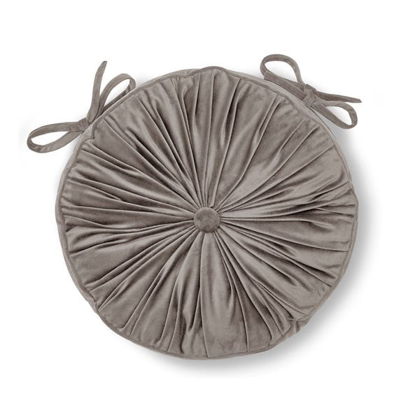 French Velvet Silver Round Seat Pad Silver