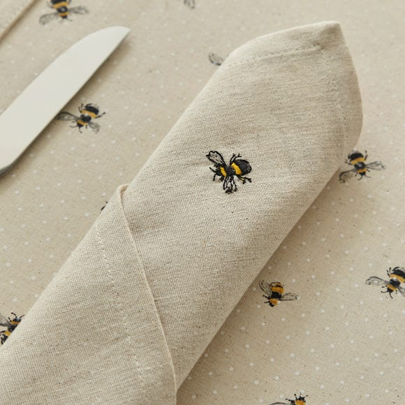 Bees Set of 4 Napkins Natural