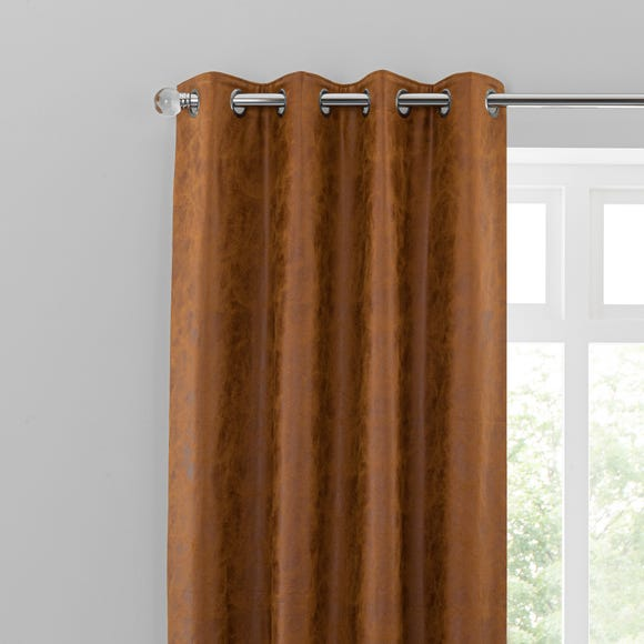 Faux Leather Tan Eyelet Curtains Dunelm, Tan And Brown Curtains