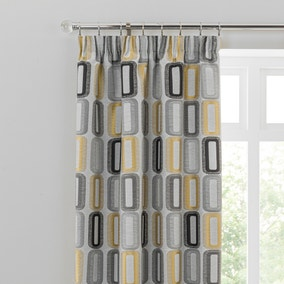 Dahl Ochre Pencil Pleat Curtains