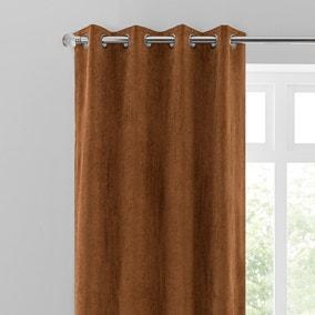 Margot Velvet-Look Butterscotch Eyelet Curtains