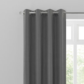 Sienna Charcoal Eyelet Curtains