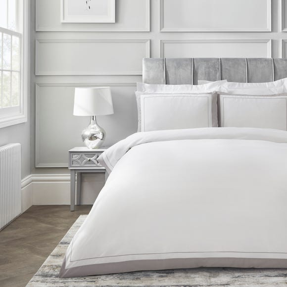 Dorma Purity Kington Silver Duvet Cover and Pillowcase Set  undefined