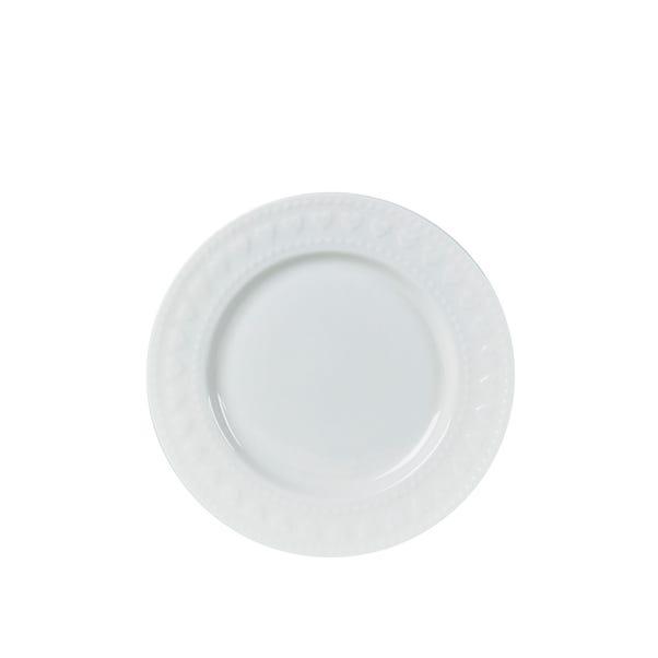 Emboss Heart Side Plate White
